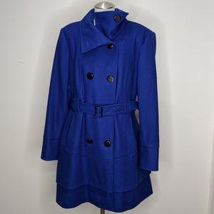 Worthington Blue Wool Blend Ruffle Pea Coat